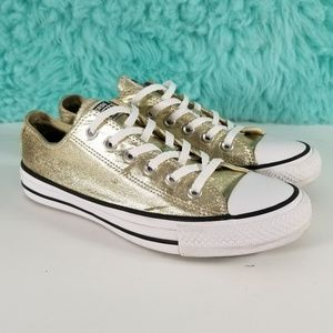 Converse All Star OX Metallic Gold Sneakers Size 8